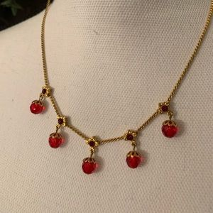 Vintage feel red and gold necklace! So beautiful!